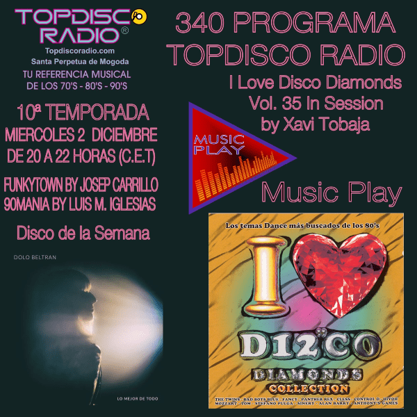 340 Programa Topdisco Radio Music Play I Love Disco Diamonds Vol 35 in session - Funkytown - 90mania - 03.12.20