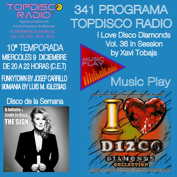 341 Programa Topdisco Radio Music Play I Love Disco Diamonds Vol 36 in session - Funkytown - 90mania - 09.12.20