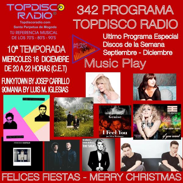342 Programa Topdisco Radio - Music Play Especial Discos de la semana- Funkytown - 90mania - 16.12.20