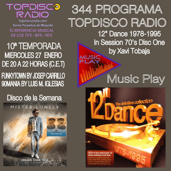 344 Programa Topdisco Radio - Music Play 12 Dance 1978-1995 in session- Funkytown - 90mania - 27.01.21