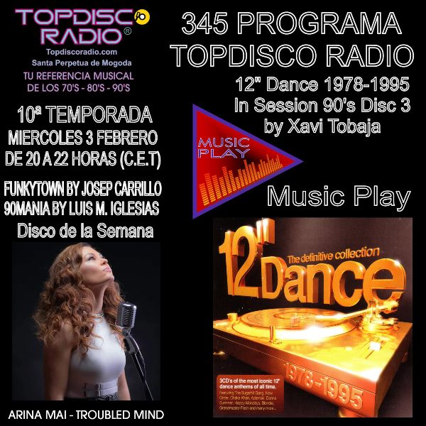 345 Programa Topdisco Radio - Music Play 12 Dance 1978-1995 in session- Funkytown - 90mania - 03.02.21